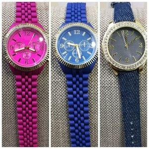 Fashion Watch In Blue, Fuchsia Or Denim